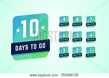 Number Of Days Left Labels. Vector Illustration In Gradient Style.