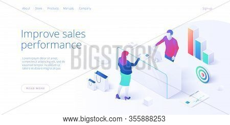 Male Cashier Working At Cash Register Concept In Isometric Vector Design. Man Salesman Or Seller And