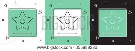 Set Hollywood Walk Of Fame Star On Celebrity Boulevard Icon Isolated On White And Green, Black Backg