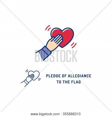 Pledge Of Allegiance To The Flag Usa Icon. Thin Line Art Colorful Icons. National Tradition, Symbol