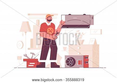Air Conditioning Repair Service Vector Illustration. Repairman