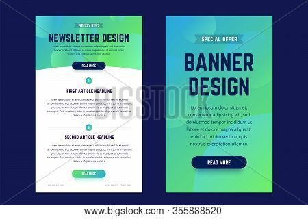 Newsletter, Email Design Template, And Vertical Banner Design Template. Modern Gradient Style With S