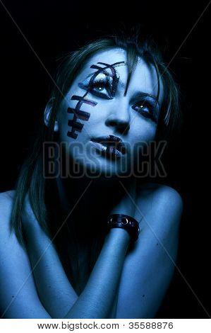 Goth, beautiful gothic girl in black fashion dress