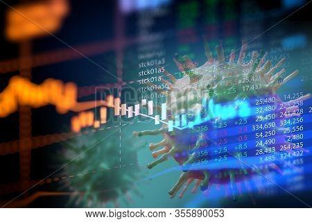 Down Trend Financial Graph On Ncov Corona Virus Microscope Image ,concept Of Economic Crisis Effect