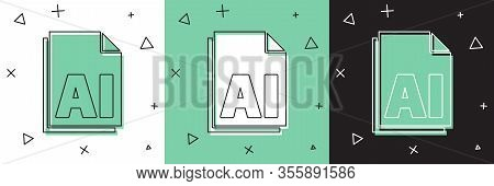 Set Ai File Document. Download Ai Button Icon Isolated On White And Green, Black Background. Ai File