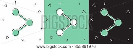 Set Share Icon Isolated On White And Green, Black Background. Share, Sharing, Communication Pictogra