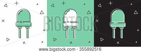 Set Light Emitting Diode Icon Isolated On White And Green, Black Background. Semiconductor Diode Ele