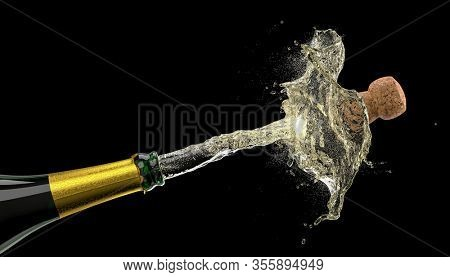popping cork of a bottle of champagne that creates splashes on black. nobody around. 3d render concept of celebration, holidays, anniversaries and new year.