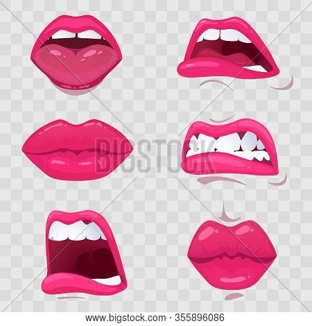 Cartoon Mouth With Emotions - Sensuality And Sadness, Resentment And Shock, Anger And Crying, On A T