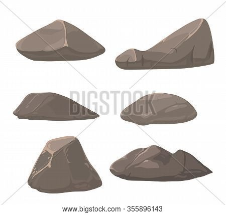 Set Of Vector Stones. Vector Stones On A White Background. Cobblestones Vector.