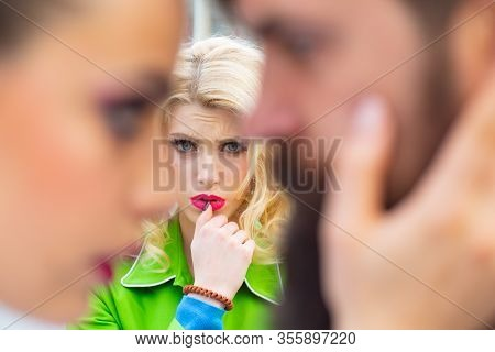 Divorce Reason. Love Triangle Concept. Sensual Woman Look At Couple Man With Girlfriend. Cheating, I