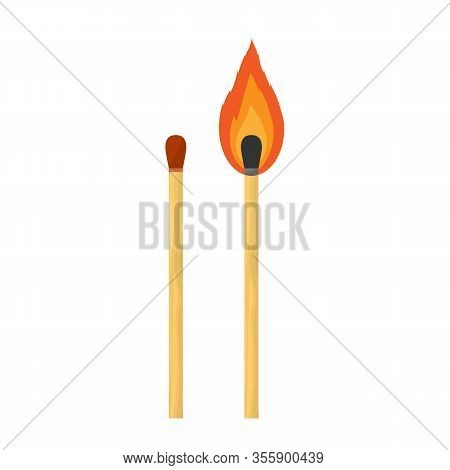 Match Isolated On White Background. Flat Vector Illustration New Match And Burn