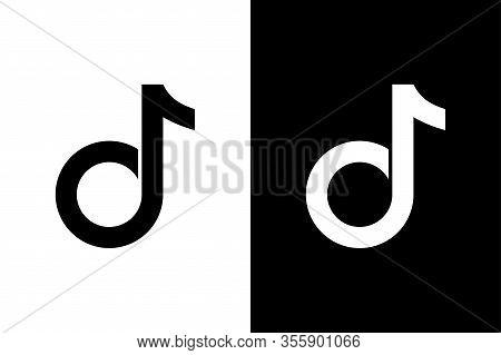 Tik Tok Black And White Icons. Tik Tok Flat Icons, Isolated On White And Black Background. Tiktok Lo
