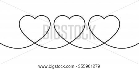 Continuous Line Of Three Hearts. Hearts In Minimalist Style. Love Concept. Line Design. Nubes. Linea