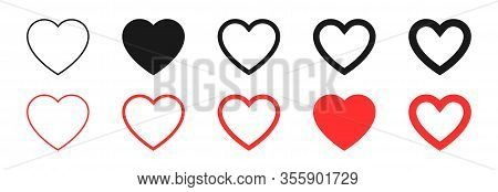 Hearts Collection. Hearts In Linear And Flat Design, Isolated On White Background. Thin To Thick Lin