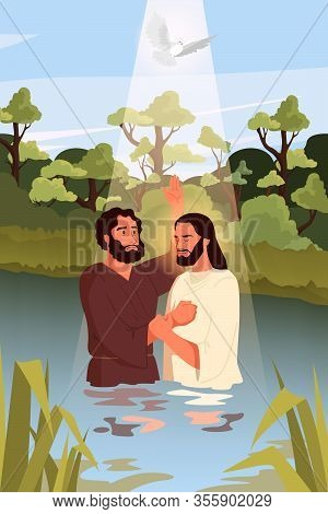 Bible Narratives About The Baptism Of Jesus Christ. John The Baptist