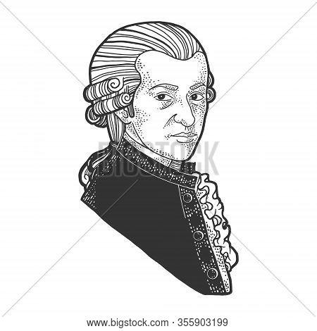 Wolfgang Amadeus Mozart Portrait Sketch Engraving Vector Illustration. T-shirt Apparel Print Design.