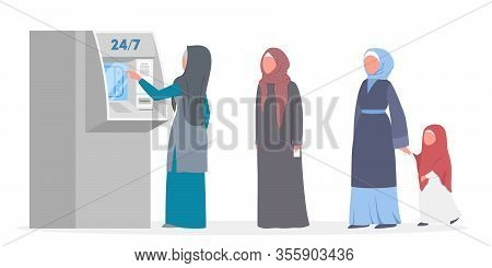Queue To Atm. Muslim People Standing In Queue To Atm.