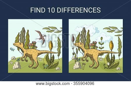 Find 10 Differences. Educational Funny Game For Children. Dino Puzzle For Children, Kid. Print And P