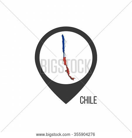 Map Pointers With Contry Chile. Chile Flag. Stock Vector Illustration Isolated On White Background.