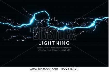 Isolated Lightning, Horizontal Power And Energy Line, Lightning Strike, Blue Light From Crack Or Gap