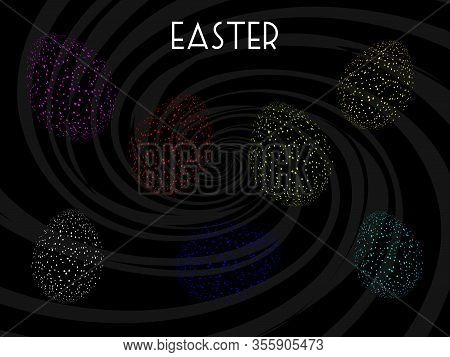Abstract Neon Fluorescent Easter Eggs Over Black Background With Tone On Tone Lighter Black Spiral A