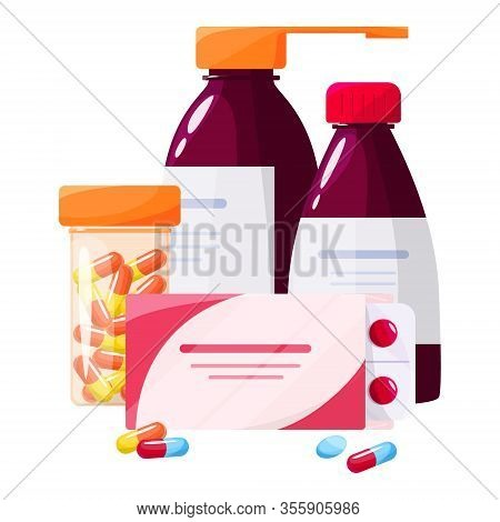 Medication And Health Treatment Concept. Collection Of Pharmacy