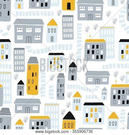 Seamless Childish Pattern With Hand Drawn Houses Yellow And Gray On A White Background. Creative Kid