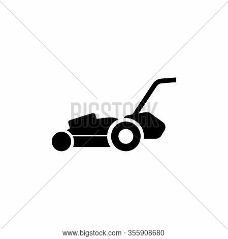 Lawn Mower, Gardening Grass Cutter. Flat Vector Icon Illustration. Simple Black Symbol On White Back