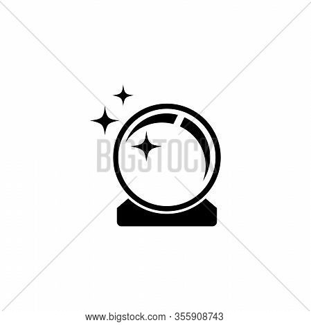 Magic Shiny Crystal Ball, Prediction Orb. Flat Vector Icon Illustration. Simple Black Symbol On Whit