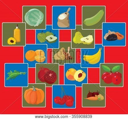 Vegetarian Foods: Vegetables, Fruits, Berries, Cereals, Oil. For Your Convenience, Each Significant