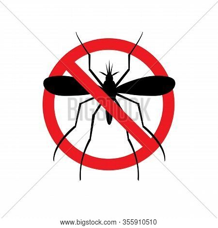 Stop Malaria Sign. Prohibitory Symbol. Mosquito Template For Use In Medical Agitation.