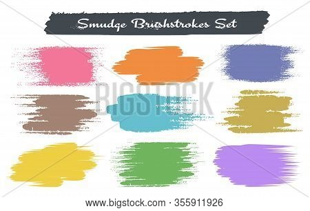 Grunge Brush Traces. Hand Painting Color Strokes Isolated On White Background, Vector Colored Swatch
