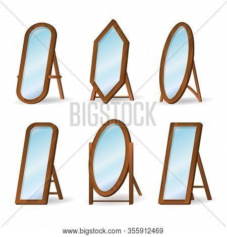 Wooden Floor Mirrors. Home Styling Mirror Set Isolated On White Background, Wood Frame Decor Floormi