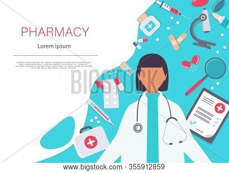 Pharmacy Vector Elements. A Female Pharmacist Is Showing Medicine. Pharmacy Icon Set. Pharmacist Sho
