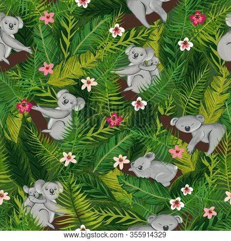 Koala Bears Seamless Pattern. Koalas In The Australian Rainforest With Eucalyptus Branches Jungle Le