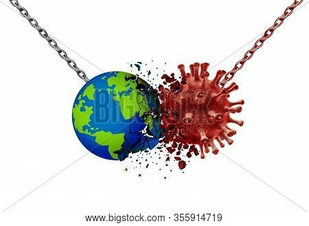 Pandemic Virus Battle Vaccine And Flu Or Coronavirus Medical Fight Disease As The World Fighting A C