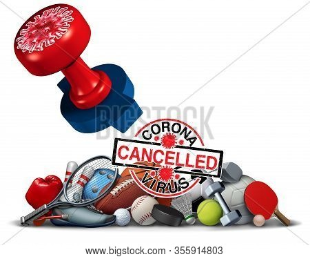 Coronavirus Sports Cancelled Concept And Covid 9 Sporting Events Cancellation As Sport Game Gatherin