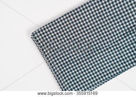 Blue White Kitchen Dishcloth Isolated Above White Background
