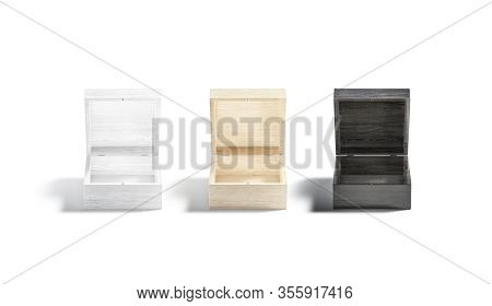 Blank Black, White, Wood Opened Gift Box Mock Up, Isolated, 3d Rendering. Empty Decoration Cassette