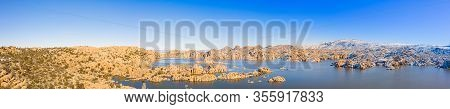 A Panoramic Winter Image Of Watson Lake In Prescott Arizona With The Granite Dells Taken By A Drone.