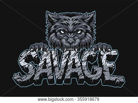 Aggressive Wolf Holding Savage Inscription With Broken Desert Sand Surface In Vintage Style On Dark
