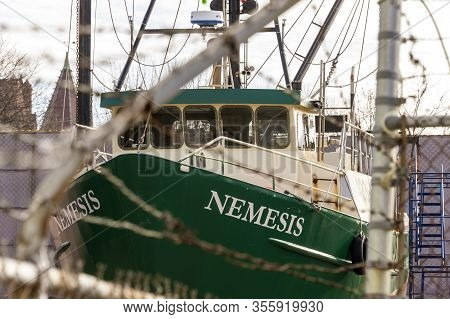 Fairhaven, Massachusetts, Usa - March 14, 2020: Commercial Fishing Vessel Nemesis Hauled Out At Fair