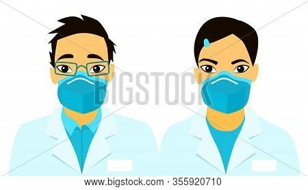 Covid 19. Asian Doctors. Medical Masks On People S Faces. Infection. Air Pollution. Novel Coronaviru
