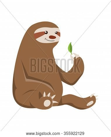 Cute Baby Sloth Seating. Vector Funny Sloth Illustration For Summer Design. Adorable Cartoon Animal.