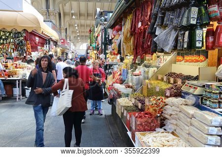 Sao Paulo, Brazil - October 6, 2014: People Visit Municipal Market In Sao Paulo. The Market Was Open