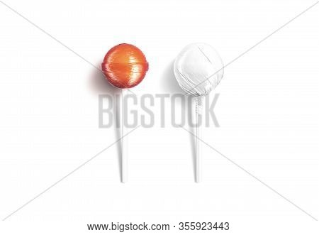 Blank Two Caramel Lollipop With White Wrapper Mockup Lying, Isolated, 3d Rendering. Empty Fruit Loll
