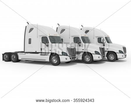 3d Rendering Of White Truck Group For Long Distance Trucking Side View On White Background With Shad