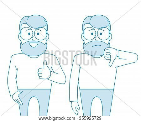 Character - A Man With Glasses And A Beard. Like And Dislike. For Better Or Worse, Approval And Cond