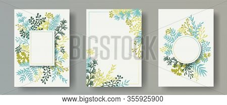 Tropical Herb Twigs, Tree Branches, Flowers Floral Invitation Cards Templates. Bouquet Wreath Modern